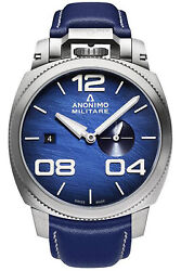 Watch Man Anonimo Militare Am102001003a03 Leather/blue