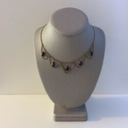 Edwardian Necklace 14k Solid White Gold Cabochon Natural Blue Sapphires