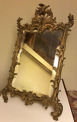 Antique 19th C. Ornate Rococo Gilded Cast Iron Easel Beveled Glass Mirror 15andrdquo
