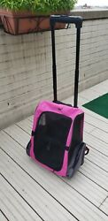 HDP Dog Cat Carrier and Backpack on Wheels Foldable Pink $45.00