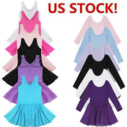 US Girl Gym Ballet Dress Kids Dance Training Leotard Bowtie Tutu Skirt Dancewear