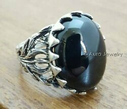 Andnbspsolid 925 Sterling Silver Aaa Black Onyx Gemstone Christmas Gift Mens Ring B80