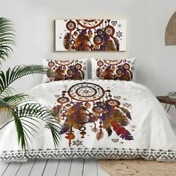 Bedding Set Queen Size Dreamcatcher Feathers Duvet Cover Bohemian Bed Cover 3 Pc
