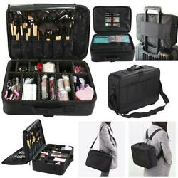 Large Makeup Train Case Cosmetic Travel Storage Organizer Dividers Bag Backpack $25.99