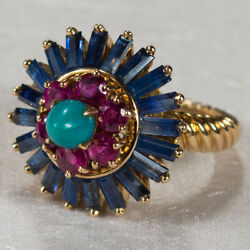 5ctw Mixed Gemstone Genuine Sapphire Ruby Turquoise Ring 18k Gold