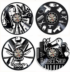 Barber Shop Wall Clock Hair Salon Vinyl Record Wall Clock Watch 12 inch Clock