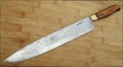 Beautiful Antique Russian-made Brass-bolstered Carbon Steel Chef Knife - Rare