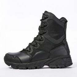 Men#x27;s Black Leather Army Boots Military Tactical Combat Waterproof Hiking Boot $44.99