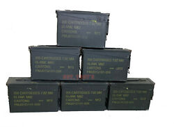 6 Pack Military 30 Cal M19a1 Metal Ammo Can 7.62mm Box .30 Caliber Vg Condition