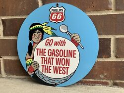 Phillips 66 With Indian Vintage Style Gasoline Gas Metal Sign