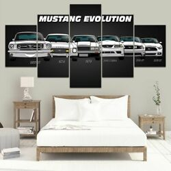 5 Pieces Mustang Evolution Canvas Wall Art Legendary Muscle Car Posters Decor