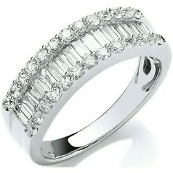 Certificated 1.00ct Diamond Eternity Ring Baguette Cut White Gold Large Size R-z