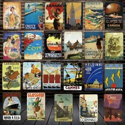 World Travel City Vintage Pictures Metal Tin Sign Plaque Wall Art Home Bar Decor
