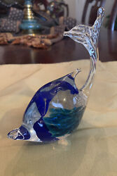 Glass Art Dolphins Statue Dolphin Figurine Paperweight-murano Made In Italy