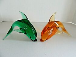 Lot 2 Murano Leaping Dolphins V. Nason And C. Green And Amber Glass Sculptures Italy