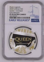 2020 Queen Music Legends Silver Proof Andpound2 Early Releases Ngc Pf69uc With Coa Andbox