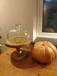 Vintage Mid Century Gold Painted Cake Stand With Glass Dome