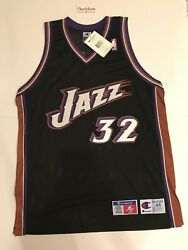 Champion Karl Malone Utah Jazz Nba Authentic Jersey Size 44 New With Tags