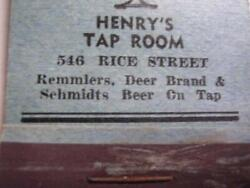 30and039s Henryand039s Tap Room Remmlerand039s Deer Brand And Schmidts Beer St Paul Mn Matchbook