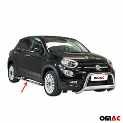 Running Boards Side Steps Nerf Bars Silver S.steel For Fiat 500x 2016-2018