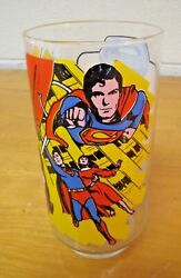 1978 Superman Glass Cup Superman Saves The Day Vintage Pepsi Collectors Dc Sm03