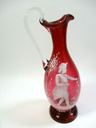 Antique Mary Gregory Bohemian Red Cranberry Glass Hand Painted Vase Ruffle Top