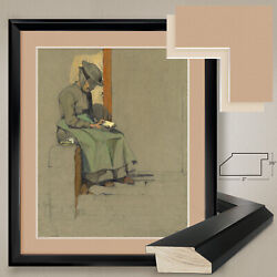 32wx38h Woman Reading By Lucie Marcus-ritter - Double Matte, Glass And Frame
