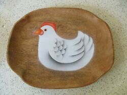 PLATTER WOOD HAND PAINTED CHICKEN PATTERN 11quot; LONG X 8 3 4quot; WIDE UNUSED NOS