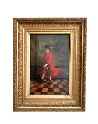 19th C French Oil On Canvas Painting Signed/dated 1888