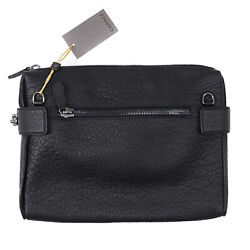 Canali Black Textured Grained Leather Laptop Travel Case Nwt 945 Shoulder Bag