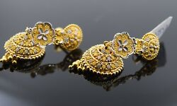 22k Earrings Solid Gold Ladies Jewelry Two Tone Filigree Floral Design E5887