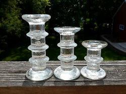 Set Of 3 Colonial Candle Of Cape Cod Glass Festivo Style Candle Holders Mcm