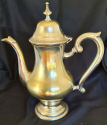 Antique Style Silver Plated Epns Solid Brass Tea Or Coffee Pot French C1940s