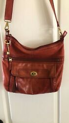 FOSSIL Large Red Leather Traveler Crossbody Messenger Purse Bag $34.00