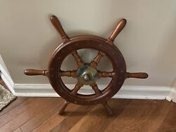 Antique Wooden Ships Wheel Old In Very Good Shape.andnbsp