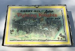 Vintage 1968 Louis Marx Tin Litho Carryall Action Fighting Knights Playset 4635