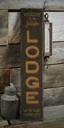 Lodge Welcome Vertical Rustic Distressed Sign, Personalized Wood Sign