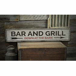 Bar And Grill Vintage Distressed Sign, Personalized Wood Sign