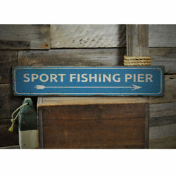 Sport Fishing Pier Vintage Distressed Sign Personalized Wood Sign