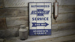 Chevrolet Service Rustic Distressed Sign Personalized Wood Sign