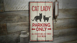 Cat Lady Parking Novelty Distressed Sign Personalized Wood Sign