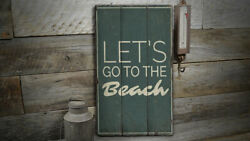 Lets Go To The Beach Rustic Distressed Sign Personalized Wood Sign