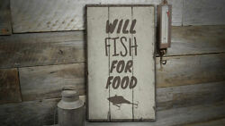 Fishing Lure Rustic Distressed Sign Personalized Wood Sign