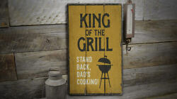 King Of The Grill Rustic Distressed Sign, Personalized Wood Sign