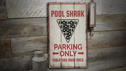 Pool Shark Parking Rustic Distressed Sign Personalized Wood Sign
