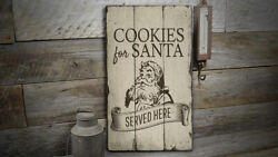 Cookies For Santa Served Here Novelty Distressed Sign Personalized Wood Sign
