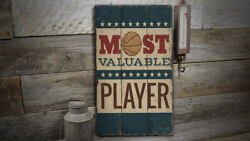 Basketball Mvp Vintage Distressed Sign Personalized Wood Sign
