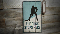 Puck Stops Here Vintage Distressed Sign, Personalized Wood Sign