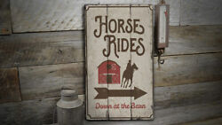 Horse Rides At The Barn Rustic Distressed Sign, Personalized Wood Sign