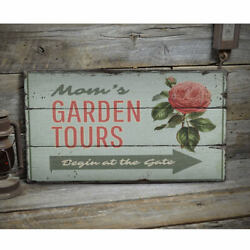 Garden Tours Arrow Novelty Distressed Sign Personalized Wood Sign